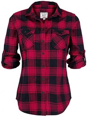 Brandit Amy Flanell Checkshirt Girl-Hemd schwarz/rot - 2XL - 3