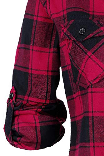 Brandit Amy Flanell Checkshirt Girl-Hemd schwarz/rot - 4XL - 5