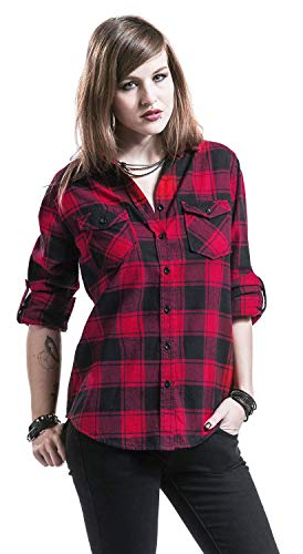 Brandit Amy Flanell Checkshirt Girl-Hemd schwarz/rot - 4XL - 6