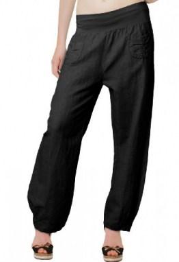 Caspar KHS006 leichte Damen Sommer Leinenhose, Farbe:schwarz, Größe:3XL - DE46 UK18 IT50 ES48 US16 - 1