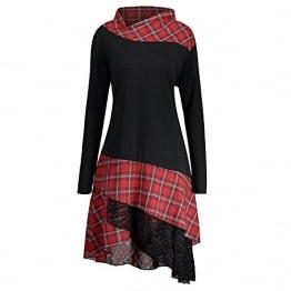 CharMma Frauen Übergröße Mock Neck Top Asymmetrisch Spitzen Bluse Langarm Kleid (4XL, Schwarz+Rot) - 1