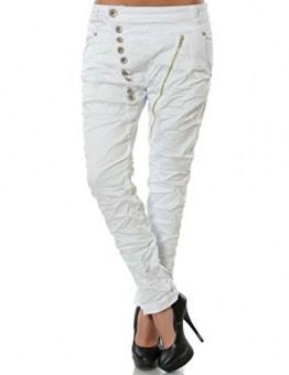Damen Boyfriend Jeans Hose Reißverschluss Knopfleiste (weitere Farben) No 14145, Farbe:Weiß;Größe:44 / 2XL - 1