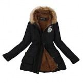 Damen Winterjacke Wintermantel Warm Langer Mantel Pelzkragen Mit Kapuze Parka Outwear Lange Daunenjacke Frauen Coat Pelzkragen Kapuzenjacke Schlank Mäntel (Schwarz, 3XL) - 1