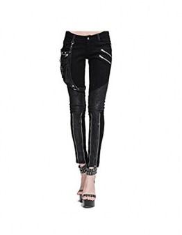 Devil Fashion Steampunk Damen Hose Mit Eins Leder Tasche Gothic Bleistift Hosen Weinlese Stitching Leggings (2XL, Schwarz) - 1
