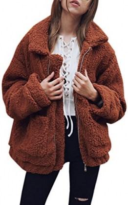 ECOWISH Damen Mantel Revers Faux Für Lose Langarm Outwear Tasche Reißverschluss Winterjacke Mode Kurz Coat Kaffee XXXL - 1