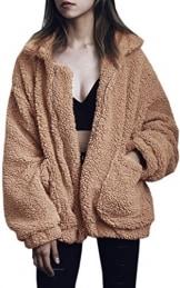 ECOWISH Damen Mantel Revers Faux Für Lose Langarm Outwear Tasche Reißverschluss Winterjacke Mode Kurz Coat Kamel XXXL - 1