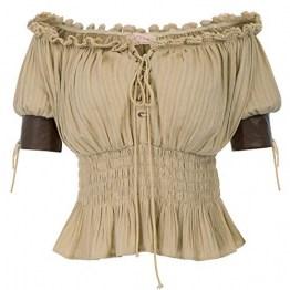 Festliche blusen Damen Khaki Bluse Kurzarmshirt Gothic Shirt 2XL BP581-2 - 1