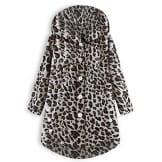 iHENGH Damen Herbst Winter Bequem Mantel Lässig Mode Jacke Frauen Knopf Leopard Mantel Flauschige Schwanz Tops mit Kapuze Lose(Kaffee, 3XL) - 1