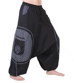 KUNST UND MAGIE Trendige Haremshose Bunte Muster Goa Hippie Hose, Größe:3XL, Farbe:Schwarz/Grau - 1