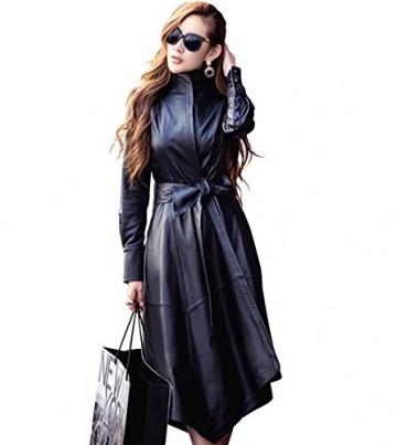LAI&MENG Damen Elegante Slim Fit Stil Trenchcoat in Lederoptik mit Asymmetrische Saum, Lange Jacke in Lederoptik mit Gürtel - 1