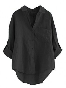 MatchLife Damen Leinen Blusen Elegant Langarm Freizeit Oberteil Lose Langarmshirt Tunika Hemd mit Taschen (2XL(Fit EU44-48), Style1-Schwarz) - 1