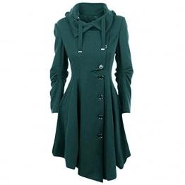 OEAK Damen Herbst Elegant Gothic Mäntel Kleider Trenchcoat Lang Parka mit Asymmetrisch Saum Jacke Windbreaker - 1