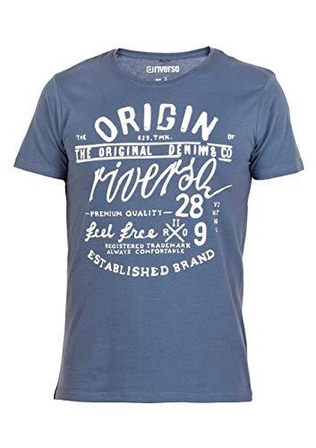 riverso Herren T-Shirt Leon Rundhals O-Neck Kurzarm Tee Mit Print - Regular Fit - S-5XL - 100% Baumwolle - Grün - Blau - Weiß - Grau - S-5XL, Größe:3XL, Farbe:Blau (DJD) - 1