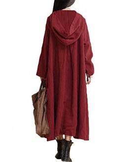 Romacci Damen Weinlese Kleid mit Kapuze Langes Hülsen-beiläufiges Loses Festes Baumwollkleid, Burgund, 3XL - 1
