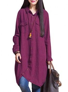 Romacci Frauen-Baumwollleinen Lange Bluse unregelmäßiger Rand Buttons Lose beiläufige Weinlese-Spitzen-Hemd-Kleid-Weiß/Violett/Dunkelblau, Violett, 4XL - 1
