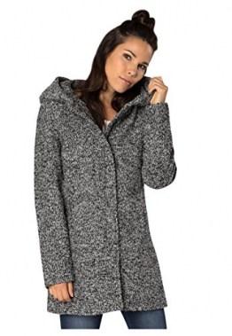 Sublevel Damen Wollmix Mantel mit Kapuze I Warmer Wintermantel Melange Look S - 3XL Black L - 1