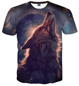 Sykooria Männer T-Shirt 3D Drucken Rundhals Sommer Wölfe Muster Paare Herren Damen T Shirt XXL - 1