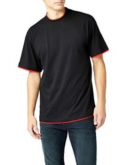 Urban Classics TB029A Herren T-shirt Bekleidung Contrast, Mehrfarbig (Black/Red), 6X-Large - 1