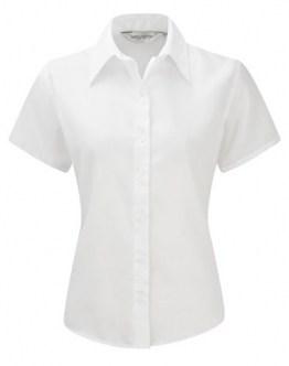 Z957F Bügelfreie kurzärmelige Damenbluse kurzarm Bluse, Farbe:WHITE;Größen:4XL - 1
